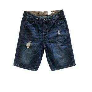 H&M L.O.G.G Mens Distressed Jean Shorts Button